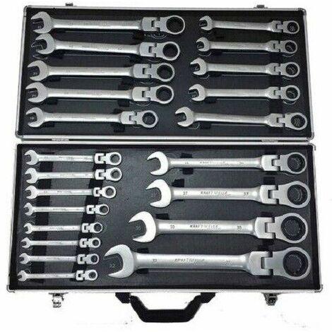 Maletín herramientas cromo-Vanadio 22pzs llaves fijas articuladas con carraca de 6 a 32mm
