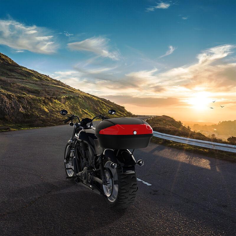 Maletín Para Moto, Top Case Universal, Negro, 52 Litros, con almohadilla para la espalda, Material: PP, Plástico