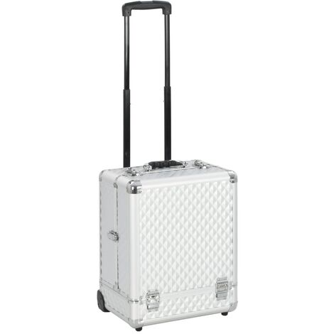 Maletín trolley de maquillaje aluminio plateado 35x29x45 cm