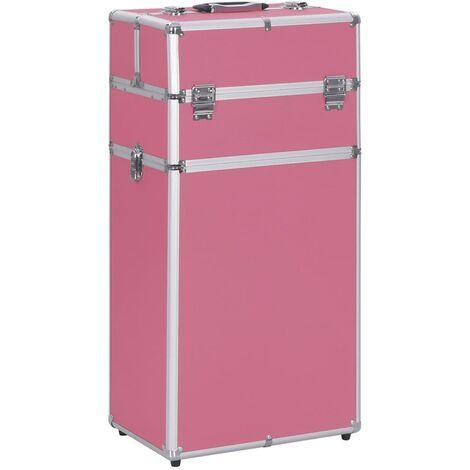 Maletín trolley de maquillaje de aluminio rosa