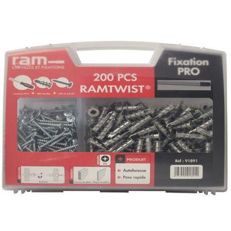Malette de 200 chevilles RAMTWIST® avec vis et tournevis RAM 91891