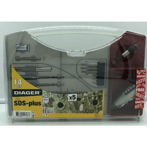 Malette SDS+ béton 14 pièces - Diager - 055C