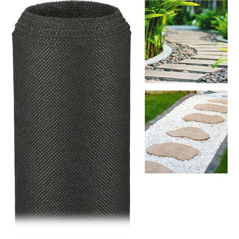 Malla Antihierbas 50 g/m² Permeable y Resistente a los Rayos UV, Polipropileno, Negro, 5 m