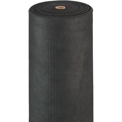 Malla Antihierbas 50 g/m² Permeable y Resistente a los Rayos UV, Polipropileno, Negro, 50 m