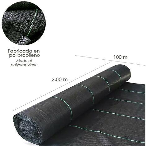 Malla antihierbas (rollo 2,0x100 metros) gramaje 110 gr/m2. malla anti maleza, malla geotextil jardin, tela anti hierbas jardin,