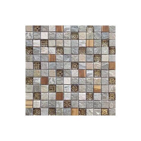 Malla Bamboo Crema - Mosaique bois marbre et verre 30x30cm - unité