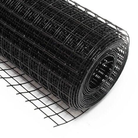 Malla de alambre cuadrada 19x19mm color negro, en rollo de 25m largo 50cm alto, acero galvanizado