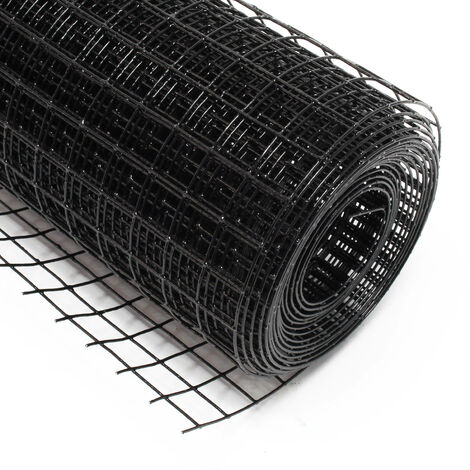 Malla de alambre cuadrada 25x25mm de color negro, rollo 5m largo y 100cm alto, de acero galvanizado
