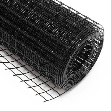 Malla de alambre cuadrada 25x25mm de color negro, rollo 5m largo y 50cm alto, de acero galvanizado