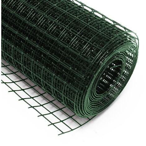 Malla de alambre cuadrada 25x25mm de color verde, rollo 25m largo y 50cm alto, de acero galvanizado