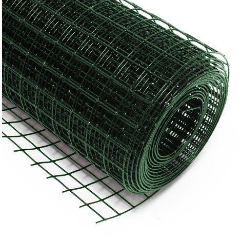 Malla de alambre cuadrada 25x25mm de color verde, rollo 5m largo y 50cm alto, de acero galvanizado