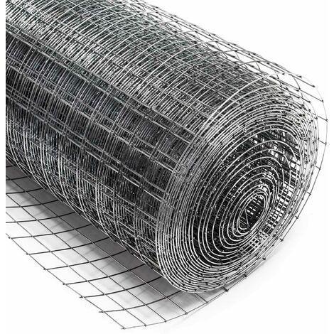 Malla de alambre cuadrada 25x25mm, rollo 10m, altura 50cm, acero galvanizado, cierres, gallineros
