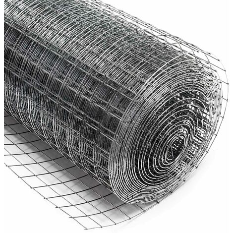 Malla de alambre cuadrada 25x25mm, rollo 5m, altura 100cm, acero galvanizado, cierres, gallineros