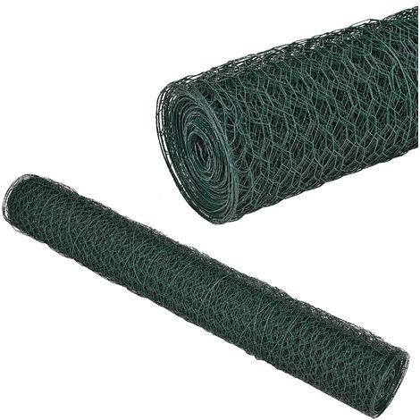 Malla de alambre hexagonal verde [1m x 25m] Valla de tela metálica - cerca de alambre
