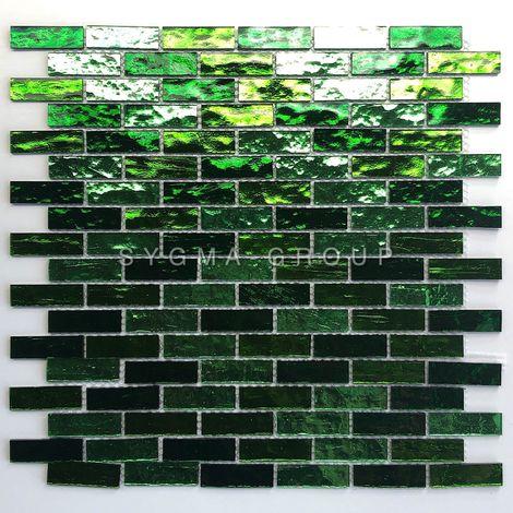 Malla mosaico de vidrio para pared de cocina o baño modelo LUMINOSA VERT