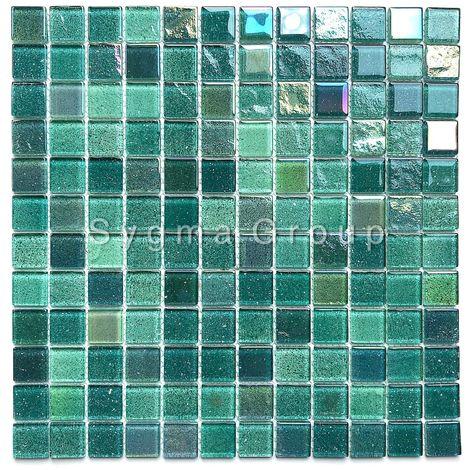 Malla mosaico de vidrio verde para las paredes del baño y la cocina Habay Vert