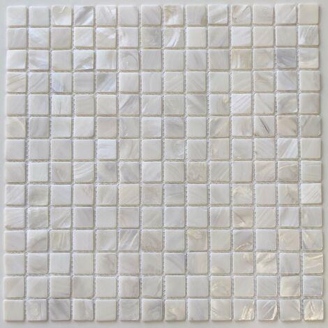 Malla mosaico y azulejo en nácar para baño y ducha Nacarat Blanc