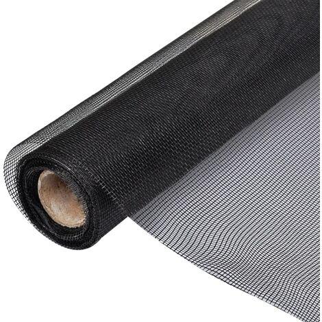 Malla mosquitera de fibra de vidrio negra 150x1000 cm