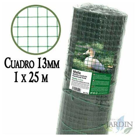 Malla verde metálica, cuadro 13mm. Valla plastificada 1 x 25 metros