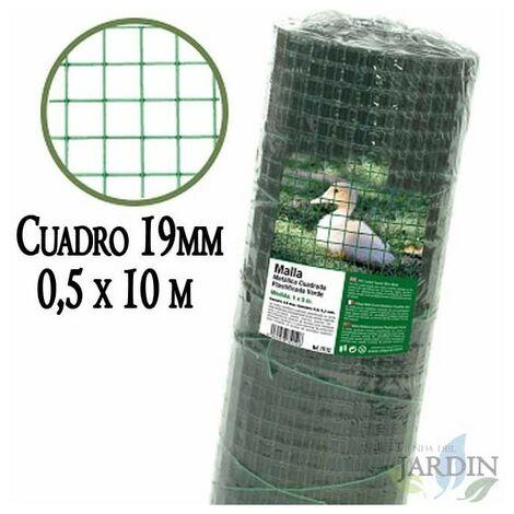 Malla verde metálica, cuadro 19mm. Valla plastificada 0,5 x 10 metros