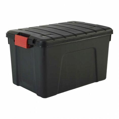 Malle de rangement - 60 litres - Scellable - 59 x 39,5 x H35,5 cm - Noir