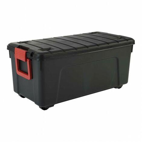 Malle de rangement - 75 litres - Scellable - 78 x 39,5 x H35 cm - Noir