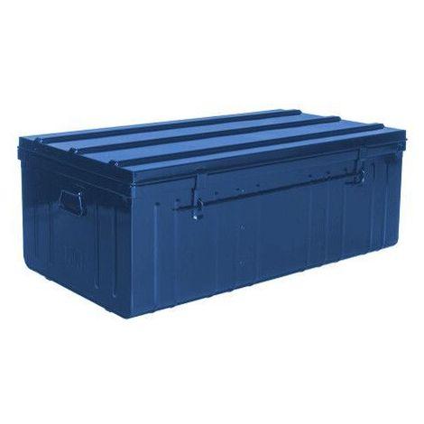 Malle de rangement en métal bleu