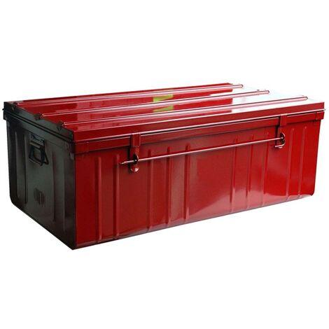Malle de rangement en métal rouge