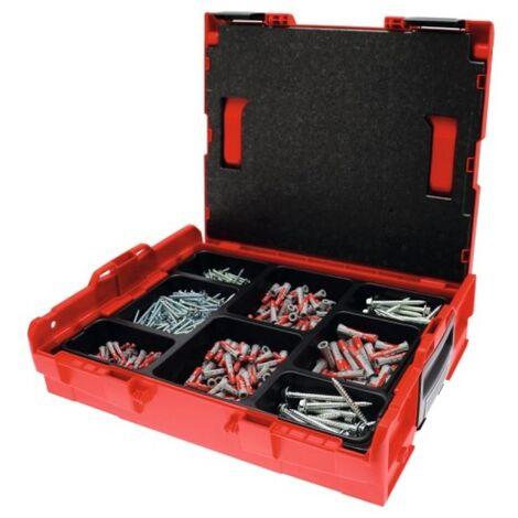 Mallette Duopower,chevilles 100 6X30,200 8x40,50 10x50,vis à bois, 100 4,5x50, 200 5x60,tire fonds 50 7x70