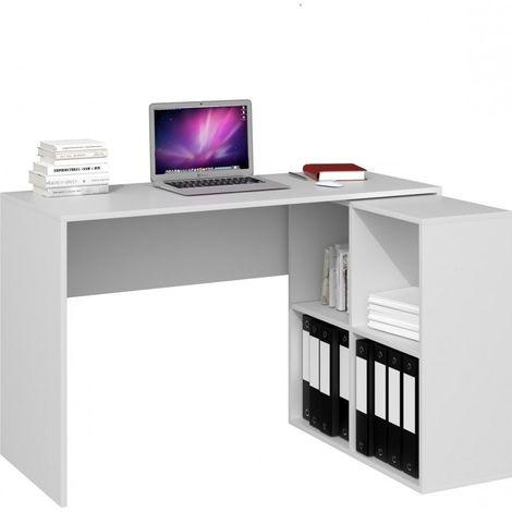 MALOX | Bureau informatique d'angle 2en1 | Bibliothèque Meuble de rangement 4 niches | Table ordinateur multi-rangements | Blanc