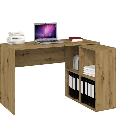 MALOX | Bureau informatique d'angle 2en1 | Bibliothèque Meuble de rangement 4 niches | Table ordinateur multi-rangements | Chêne