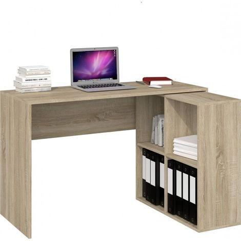 MALOX | Bureau informatique d'angle 2en1 | Bibliothèque Meuble de rangement 4 niches | Table ordinateur multi-rangements | Sonoma