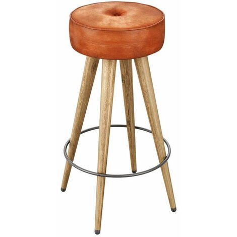Malsom Kitchen Bar Stool Rustic Wood Finish Genuine Leather Seat Bruciato Tan