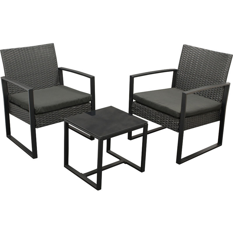 MALTA: Garnitur 3-teilig (2x Loungesessel, 1x Tisch 42x40cm) Gestell Stahl schwarz, Polyrattan schwarz, mit Polstern schwarz - DEGAMO