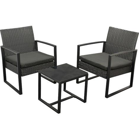 MALTA: Garnitur 3-teilig (2x Loungesessel, 1x Tisch 42x40cm) Gestell Stahl schwarz, Polyrattan schwarz, mit Polstern schwarz