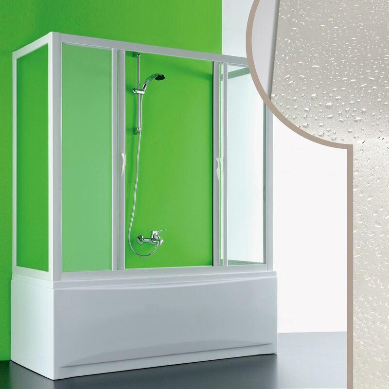 Idralite - Mampara de bañera 3 Lados 80x160x80 CM de Acrílico mod. Plutone 2 con Apertura Central