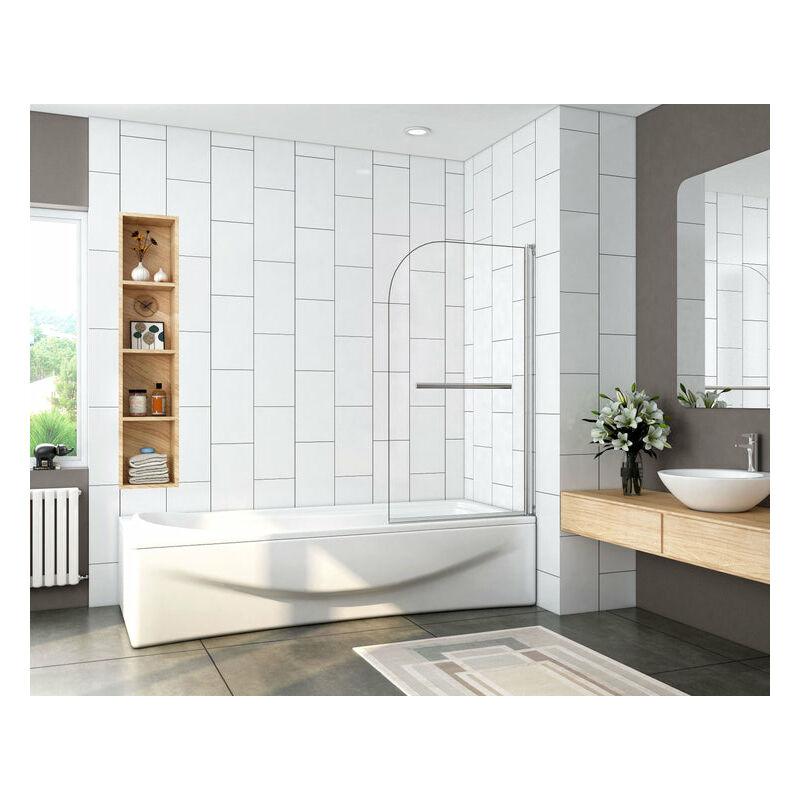 Mampara de bañera Abatible de 1 Hoja 180 grados con Toallero 80x140cm - Aica