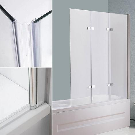 Mampara de bañera cabina de ducha 140x130CM vidrio paneles plegables para bañera o ducha biombo abatible hoja de bañera