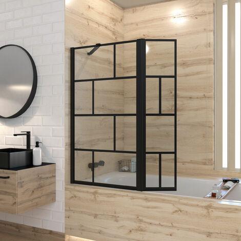 Mampara de bañera con contraventana pivotante - perfil negro mate - 130x104 (Al x An) - Vidrio serigrafiado 5 mm