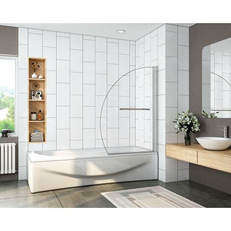 Mampara de bañera en forma media luna, vidrio transparente templado con tratamiento antcial 100X150 CM,8mm