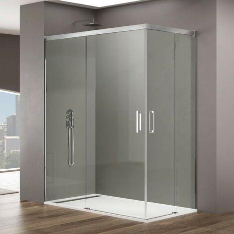 Mampara de ducha angular BASIC angular Medida 1: 65-70, Medida 2: 85-90, Decorado: Transparente