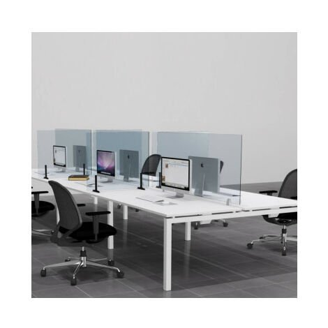 Mampara de cristal para mesas de trabajo anticontagios mop1101054-DESKandSIT-140x70cm 140x70cm Screen with Fixed Clamps Protective Screen WITH OPENING