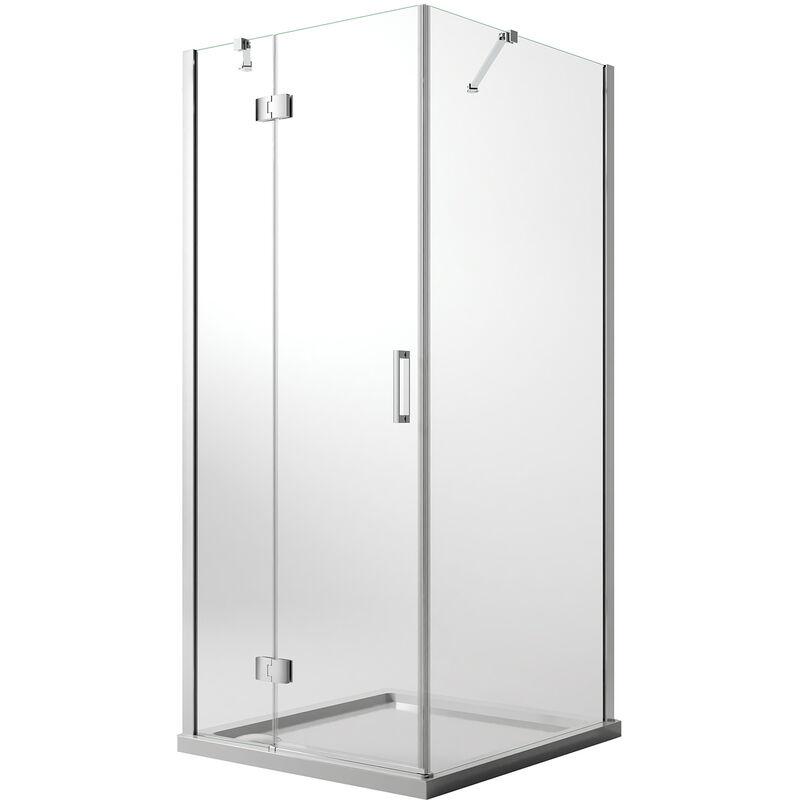 Mampara de ducha 90x75 CM H190 Vidrio Transparente con Easyclean mod. Flip Hoja + Fijo - IDRALITE