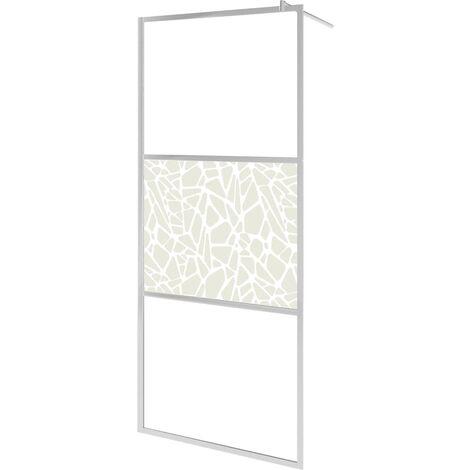Mampara de ducha accesible vidrio ESG diseño piedras 80x195 cm