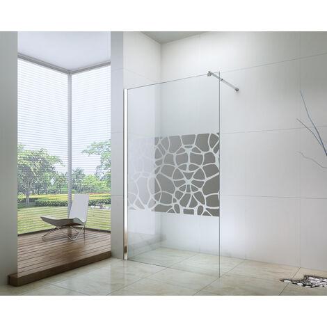 Mampara de ducha ALEA 90 serigrafiado de 10 mm perfil cromado Dimensiones : 180x195 cm - Aqua +
