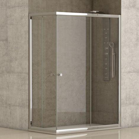Mampara de ducha angular 2 hojas fijas + 2 hojas correderas con cristal transparente templado de seguridad de 4mm modelo Cataloni