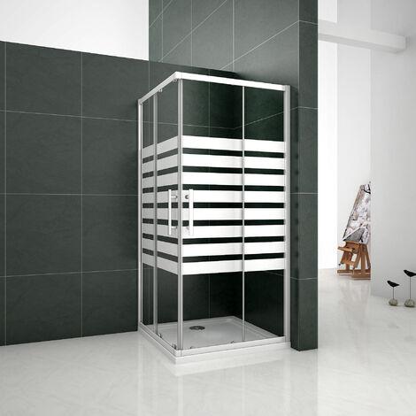 Mampara de ducha Angular 5mm Serigrafiado - 2 Fijas + 2 Correderas,Puertas Correderas