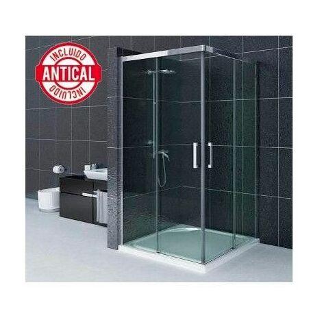 Mampara de ducha Angular Antical 1 hoja fija + 1 hoja corredera + 1 hoja lateral fijo Modelo Portinax