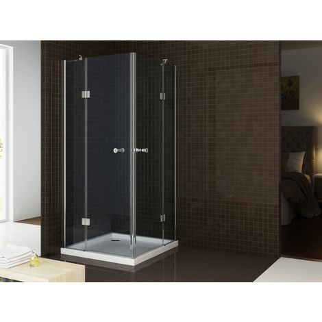 Mampara de ducha angular, cristal auténtico NANO T801 / EX801 - 80 x 80 x 195 cm, sin plato de ducha