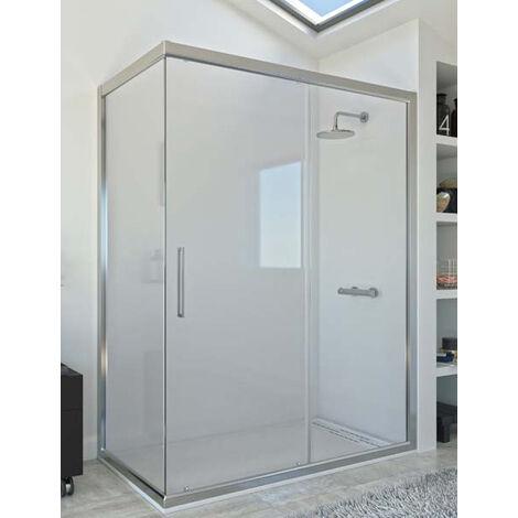 Mampara de ducha angular de 2 hojas fijas y 1 puerta corredera. - Modelo DAMARA